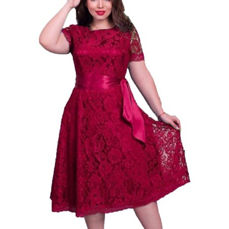 Women Plus Size Short Sleeve Lace Dress Party Cocktail Wedding