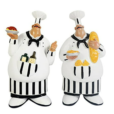 KiaoTime Set of 2 Adorable Cooking Fat Chef Wall Art Hanging Sign Decorative Kitchen Wall Sign -