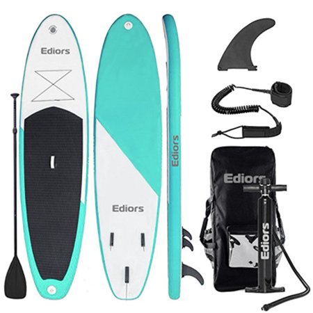Ediors Inflatable Stand Up Paddle Boards(6 Inches Thick) ,Surfboard, w/Carry Back Pack,Adjustable Travel Paddle,Fin,Pump(118 x 33 x 6 Inches)