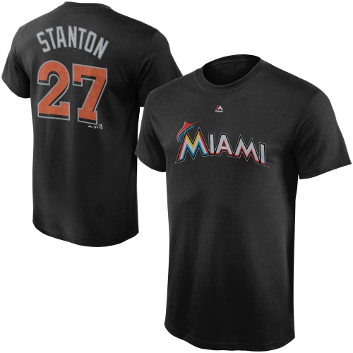 Giancarlo Stanton Miami Marlins Majestic Youth Player Name & Number T-Shirt - Black