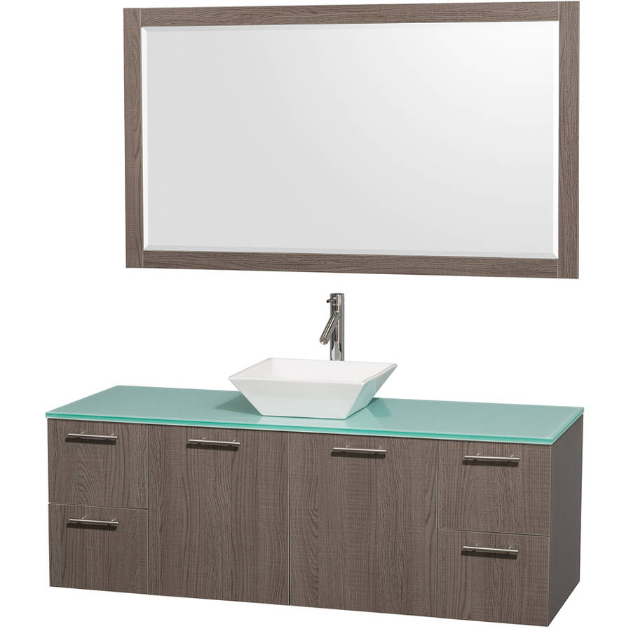 Wyndham Collection Amare 60 inch Single Bathroom Vanity in Gray Oak with Green Glass Top with White Porcelain Sink, and 58 inch Mirror
