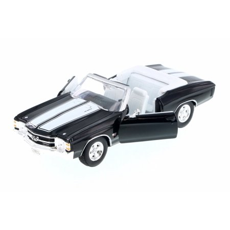 1971 Chevy Chevelle SS454 Convertible, Black w/ White - Welly 22089WBK - 1/24 Scale Diecast Model Toy Car