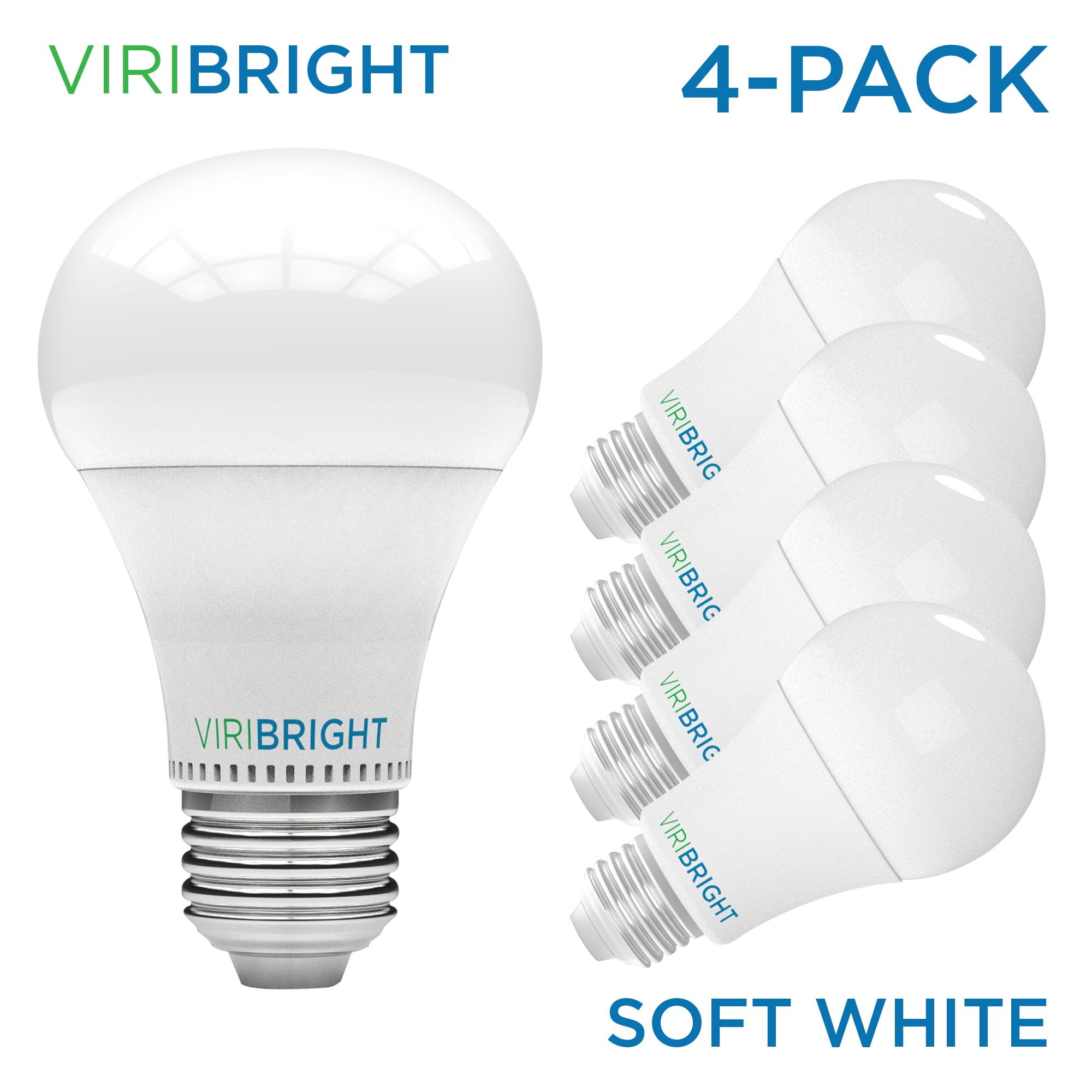 Viribright 100 Watt Equivalent LED Light Bulb, 2700K Warm White (Soft White), Medium Screw Base (E26), Pack of 4