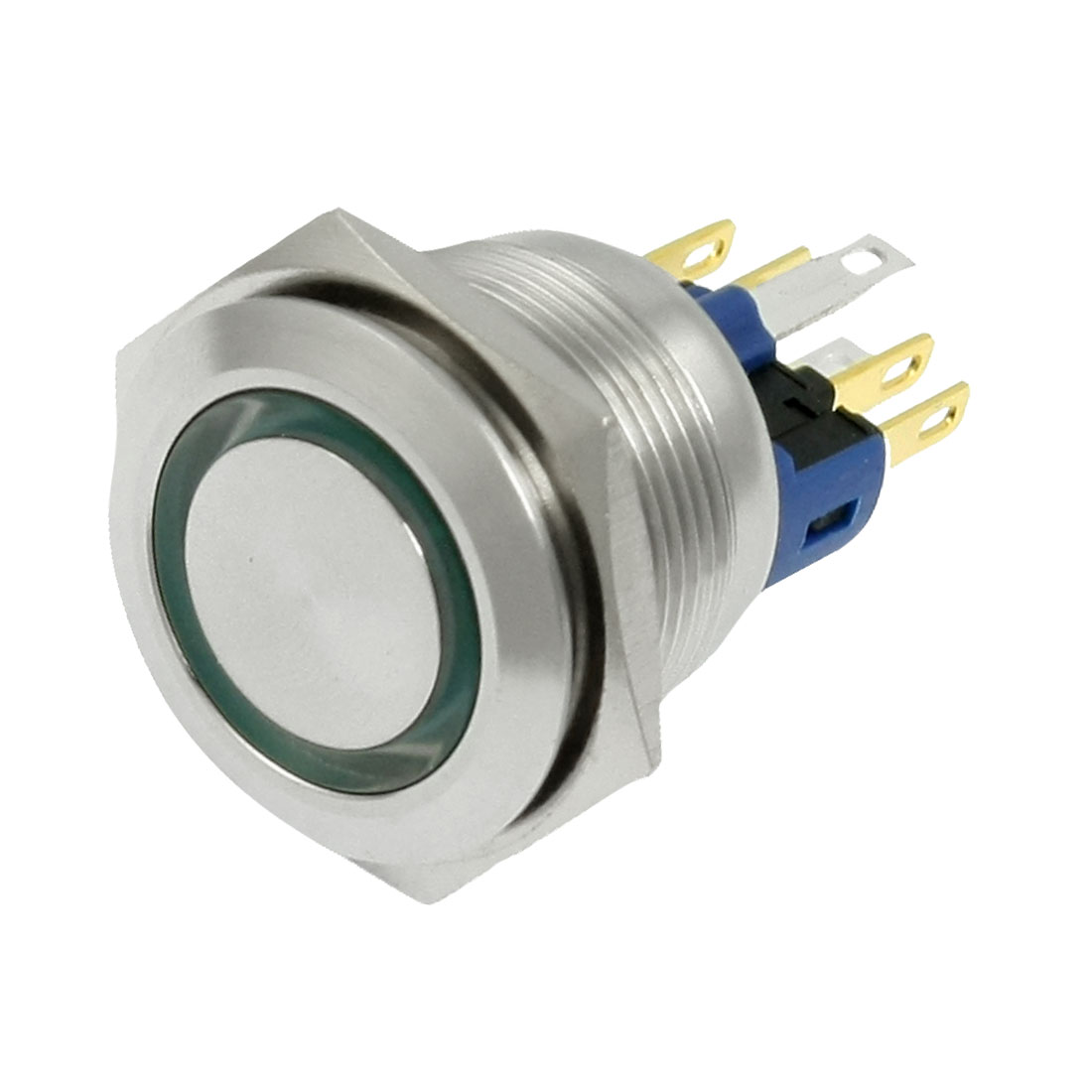 24V Green LED Stainless Push Button Switch 6 Screw Terminals