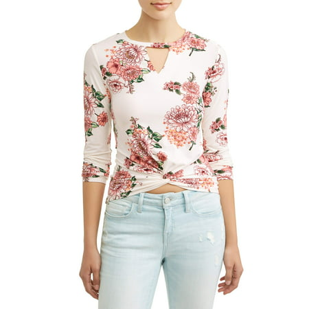 Juniors' Floral Printed Gigi Cut Out Yummy Twist Front T-Shirt