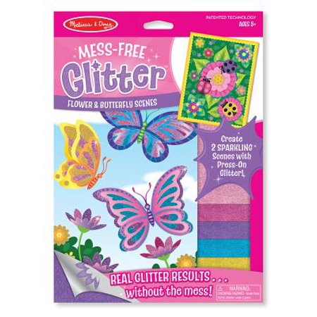 Melissa & Doug Mess-Free Glitter Activity Kit - Flower and Butterfly Scenes
