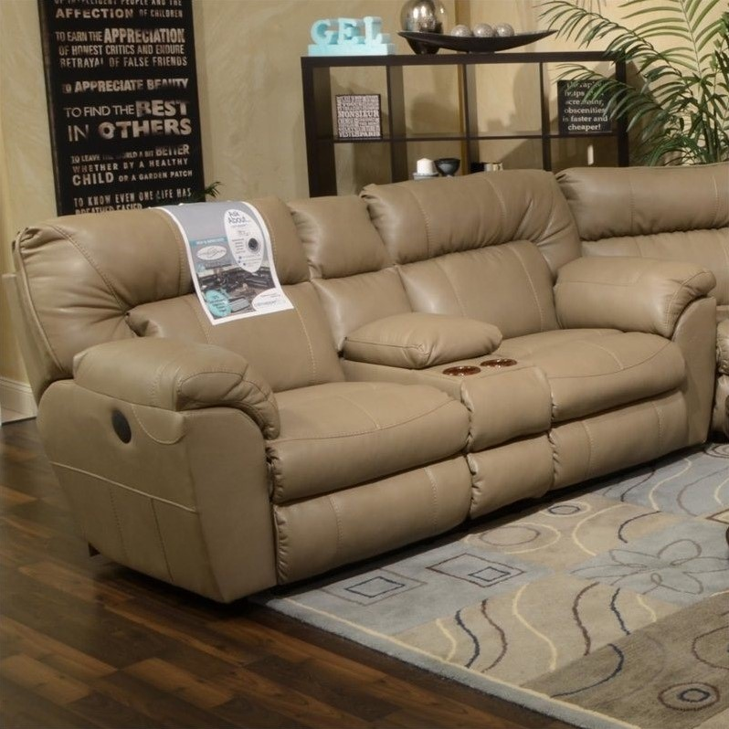 Catnapper Nolan Leather Reclining Loveseat in Putty