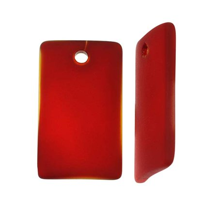 Cultured Sea Glass, Wide Curved Rectangle Pendants 33x19mm, 2 Pieces, Dark Cherry Red