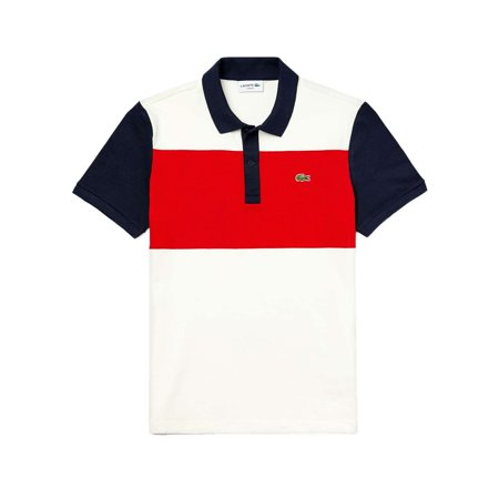 Lacoste Mens Short Sleeve Striped Colorblocked Polo T-Shirt