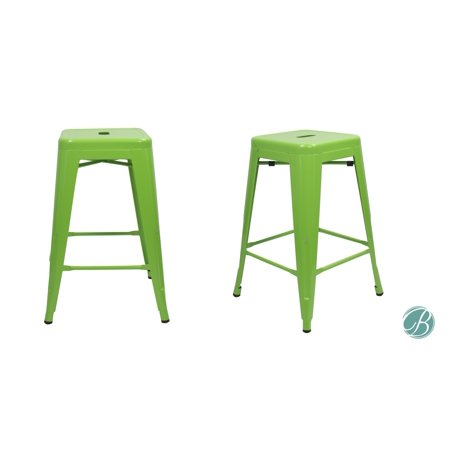 """- SET OF 2 Metal Bar Stool 24"""" MILANI LAWN GREEN Stackable, Indoor/Outdoor, Counter Stools, Kitchen Bar Stools, Industrial, Galvanized Steel, Counter Stool"""