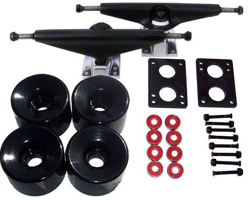Set of Longboard Trucks, Wheels, & Bearings 7.0 Black, 76mm Solid Black by Havoc
