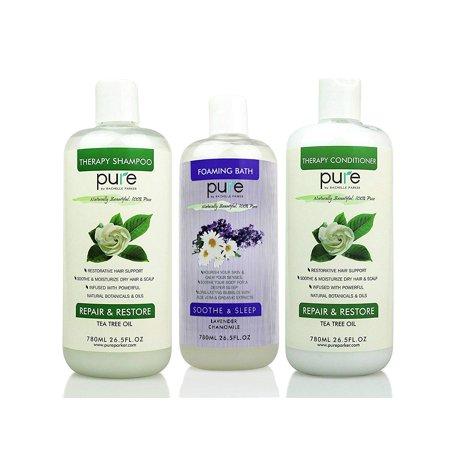Salon Spa Kit Gift Set - Natural Bath Set Including Oversized Tea Tree Shampoo and Conditioner PLUS Lavender Bubble Bath ()
