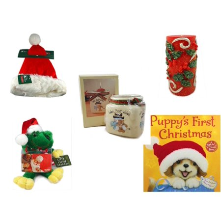 - Christmas Fun Gift Bundle [5 Piece] - Trim A Home Deluxe Santa Hat Adult Medium -  Candle Holly Berry Pillar 3 x 6 - Short Candle Jars