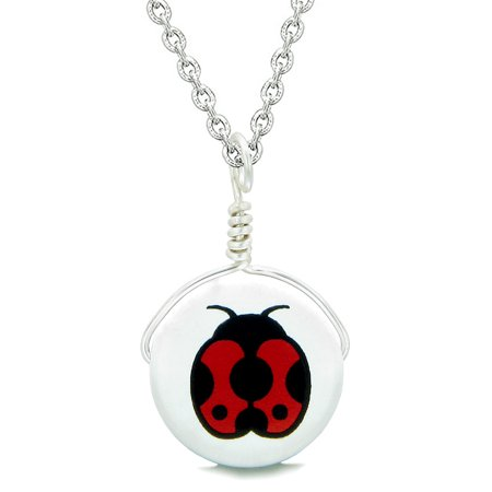 Handcrafted Cute Ceramic Lucky Charm Adorable Lady Bug Amulet Pendant 22 Inch Necklace