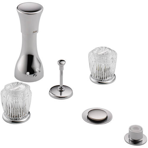 Delta Kbdcl-d-44-h21-ch Classic Bidet Fitting Kit Deck-Mounted Vertical Spray with Acrylic Knob Handles, Chrome