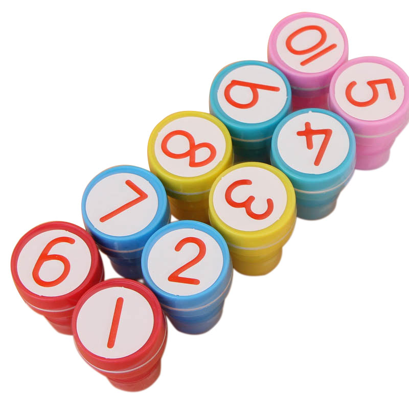 10pcs Numbers Rubber Stamp Set Kids Cute Plastic Self Inking Stamper Toys Baby DIY Crafts by