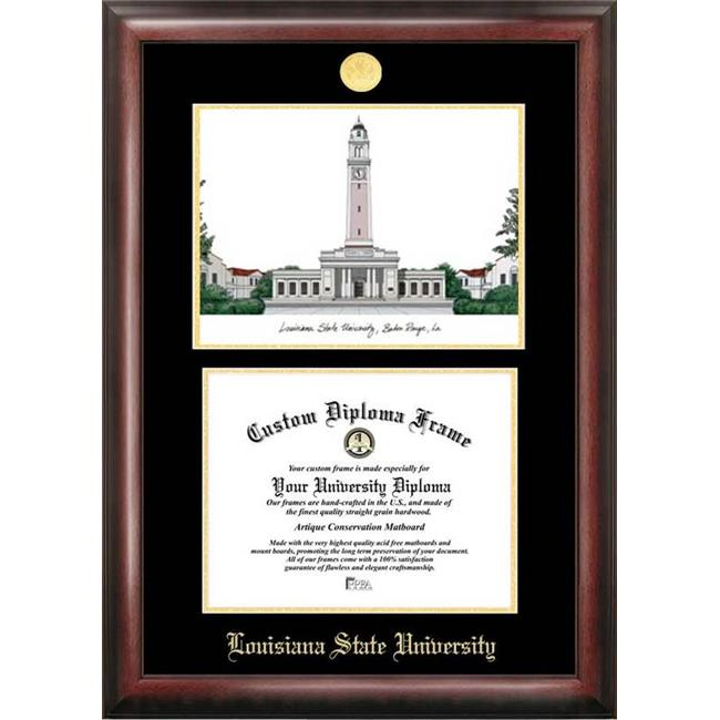 Campus Images LA999LGED Louisiana State University Gold embossed diploma frame with Campus Images lithograph