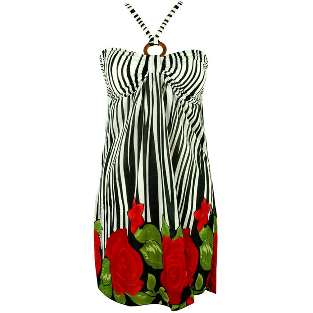 Luxury Divas Black & White Striped O-ring Halter Sun Dress With Floral Print