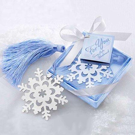 Girl12Queen Creative Alloy Snowflake Shape Bookmark with Ribbon Box Gift Wedding Decor