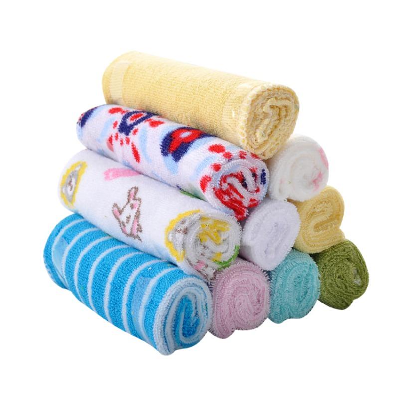 Sawpy 8PCS Baby Cartoon Print Square Towel Soft Handkerchief Newborn Cotton Washcloth Saliva Cloth by Sawpy
