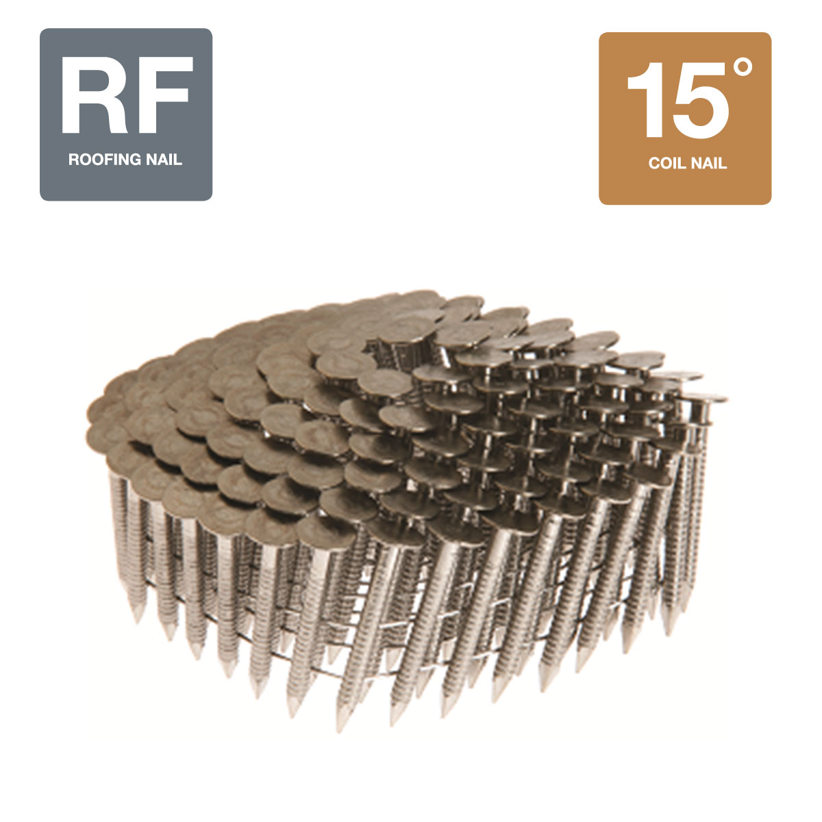 """1-1/4"""" x 0.120"""" 15 Degree Collated Ring Shank 304 Stainless Steel Roofing Nails - 7200 Count Box"""