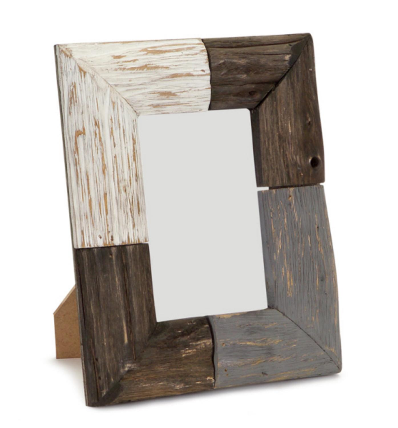 "Pack of 3 Brown, Gray and White Rustic Natural Wood Picture Frames 9""H"
