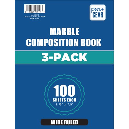 Marble Executive Pen - 3 Pack Pen+Gear 100ct Marble Composition Book Wide Ruled 9.75