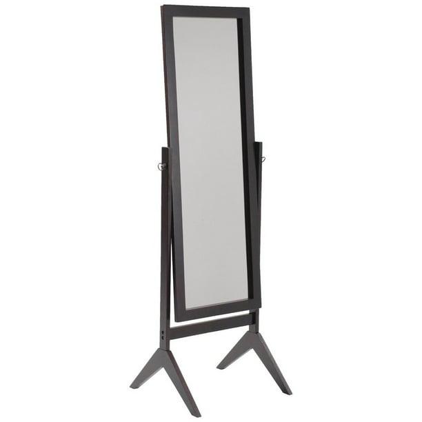 Legacy Decor Espresso Finish Wood Rectangular Cheval Floor Mirror Free Standing Mirror Walmart Com Walmart Com