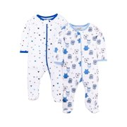 Little Star Organic Newborn Baby Boy Sleep 'N Play Footed Pajamas, 2-Pack