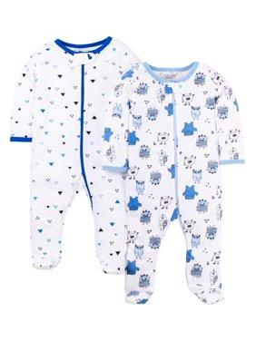 Little Star Organic Baby Boy Sleep 'N Play Pajamas, 2-Pack