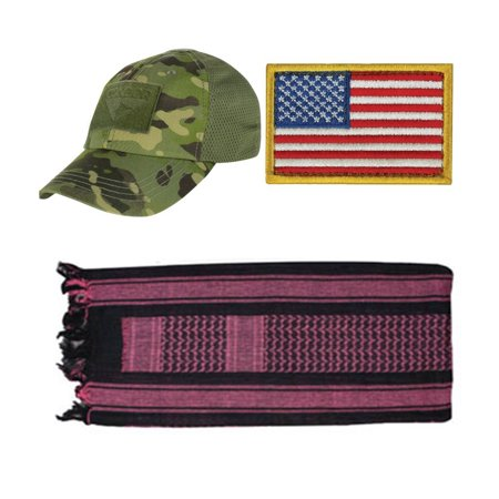9e6db4fda2d Ultimate Arms Gear - Cap Mesh MultiCam Tropic + USA PATCH LEFT + Black Pink  Shemagh - Walmart.com