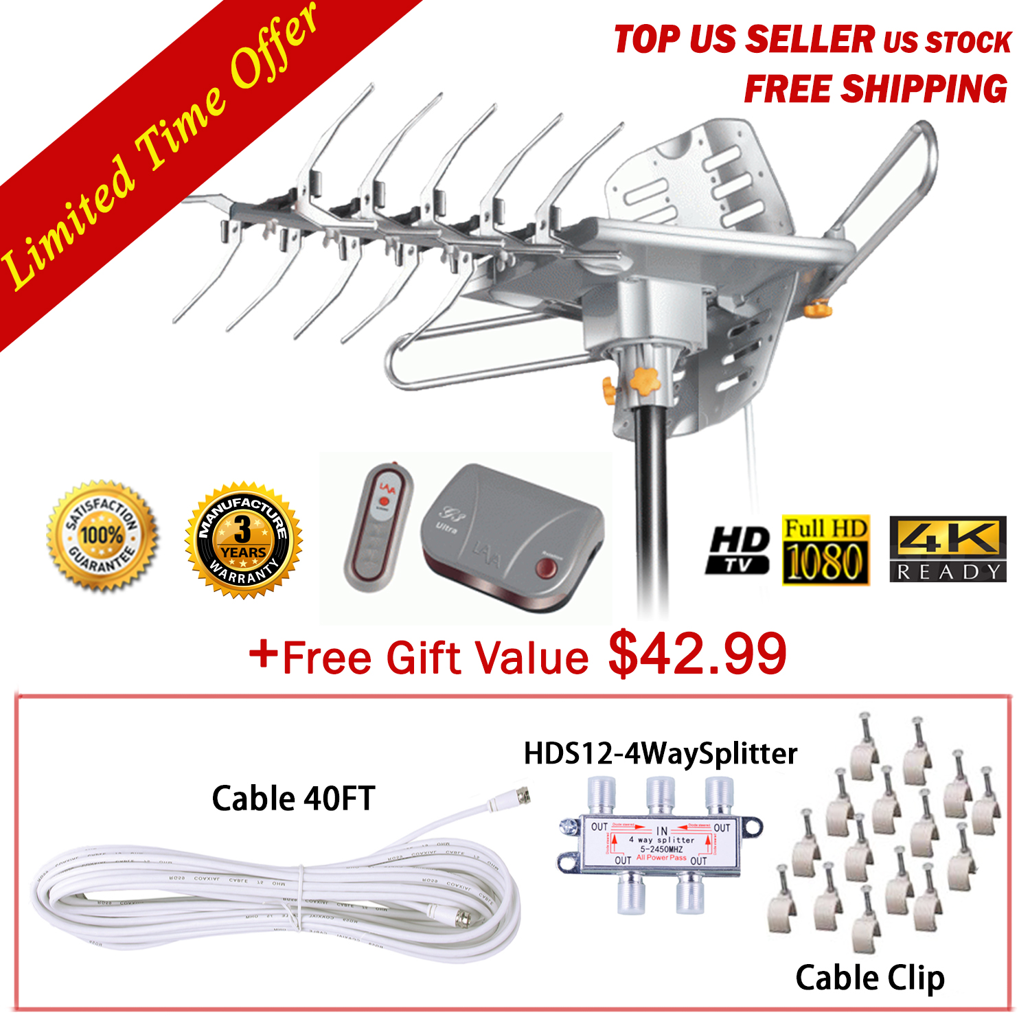 150 Miles Lava HD 2605 4K Ultra Remote Controlled HDTV Outdoor Antenna With Control Box