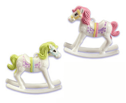 2piece Carousel Horses  Cake Cupcake Food Decoration Topper Pink & Green