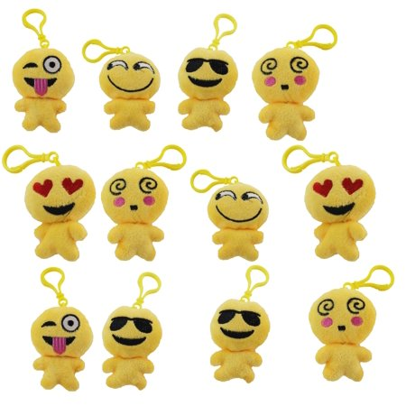 Set of 12 Pack Emoji Keychain, Fun Emoji Faces,Toy Party Favors, Fun Emoji Face, Fun Pass Time Toy Key Chain with different Emotions and Facial Expressions!