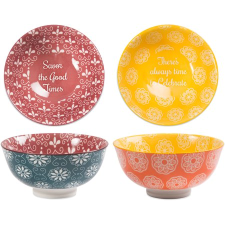Pavilion - Savor the Good Times - There's Always Time to Celebrate - Patterned Porcelain Bowl Set of  2