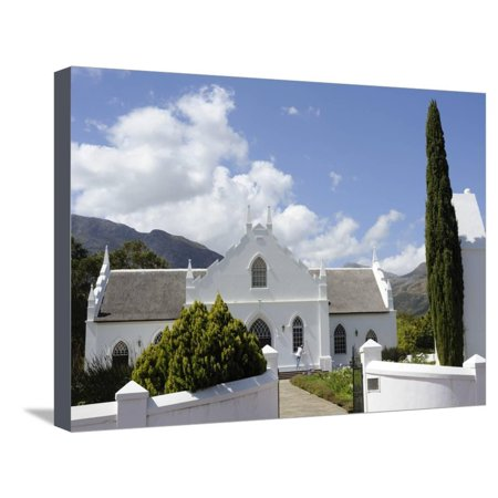 Dutch Reformed Church Dating from 1841, Franschhoek, the Wine Route, Cape Province, South Africa Stretched Canvas Print Wall Art By Peter