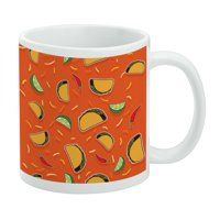 Delicious Taco Fiesta Pattern with Chili and Lime White Mug