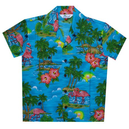 Casual Suits For Boys (Hawaiian Shirts 48B Boys Scenic Flamingo Beach Aloha Holiday Casual Turquoise)
