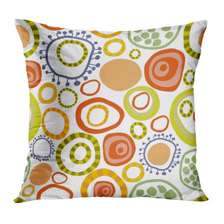 - ECCOT Green Pattern Bright Multi Colored Circles Childrens Tissue Orange Fun Color Cool Abstract Baby Pillow Case Pillow Cover 16x16 inch