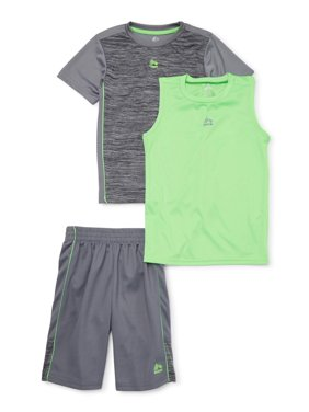 RBX Boys Space Dyed Active T-Shirt, Muscle Tank Top, and Mesh Shorts, 3-Piece Set, Sizes 4-12