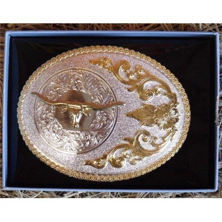 M&F Western Products 3756413 Nocona Womens Oval Berry Longhorn Belt Buckle - Shiny Gold, Shiny Silver (Womens Western Belt Buckle)