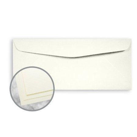 Strathmore Writing Natural White Envelopes - No. 10 Commercial (4 1/8 x 9 1/2) 24 lb Writing Laid 25% Cotton Watermarked 2500 per
