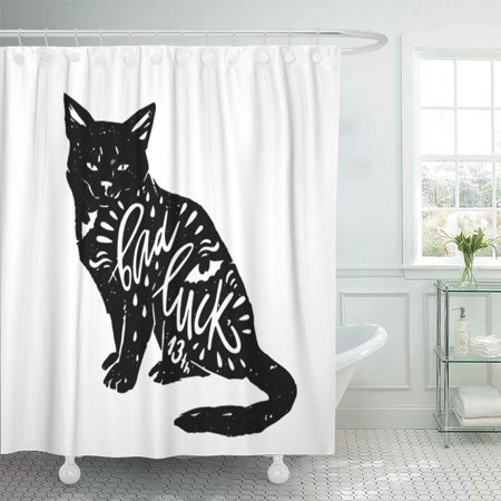 KSADK Black Cat Bat Silhouette and Quote Bad Luck Happy Halloween Lettering Shower Curtain 66x72 inch - Black Cat On Halloween Bad Luck