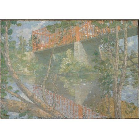 """The Red Bridge Poster Print by Julian Alden Weir (American West Point New York 1852  """"1919 New York) (18 x"""