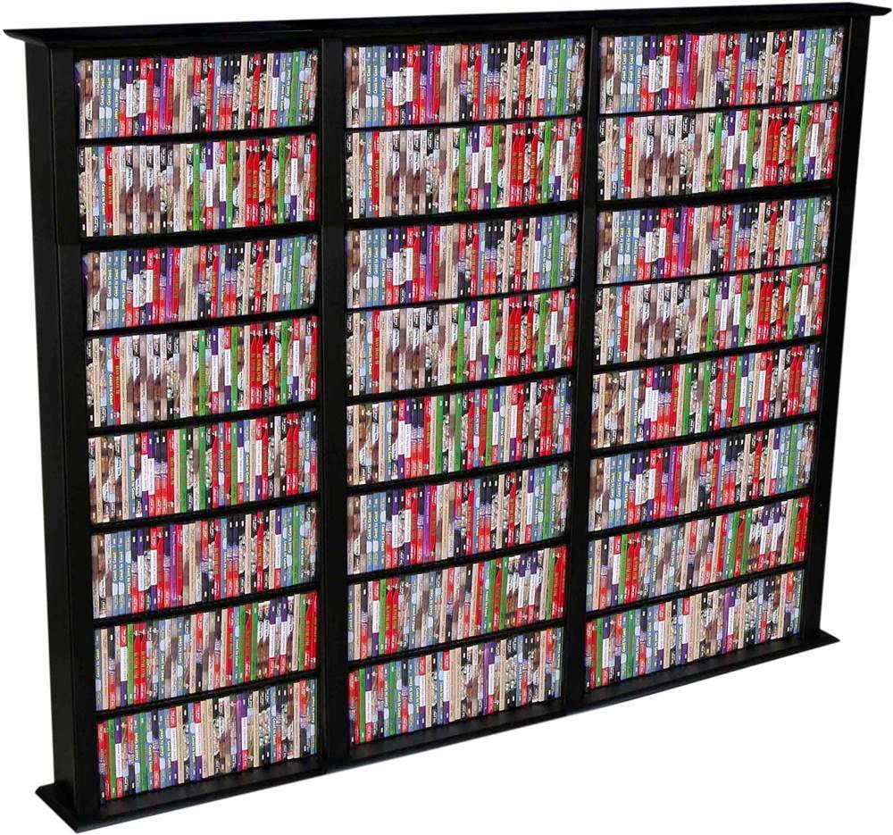 Triple Media Storage Tower in Black Finish w Adjustable Shelves