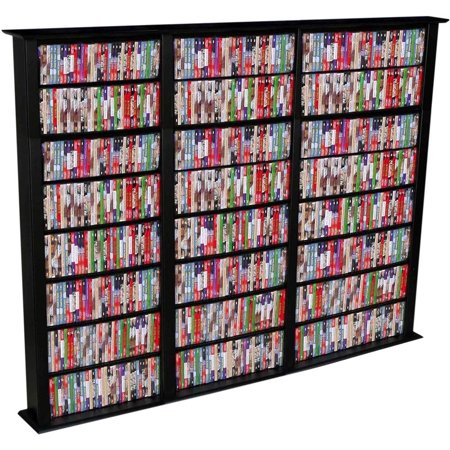 Triple Media Storage Tower in Black Finish w Adjustable Shelves by