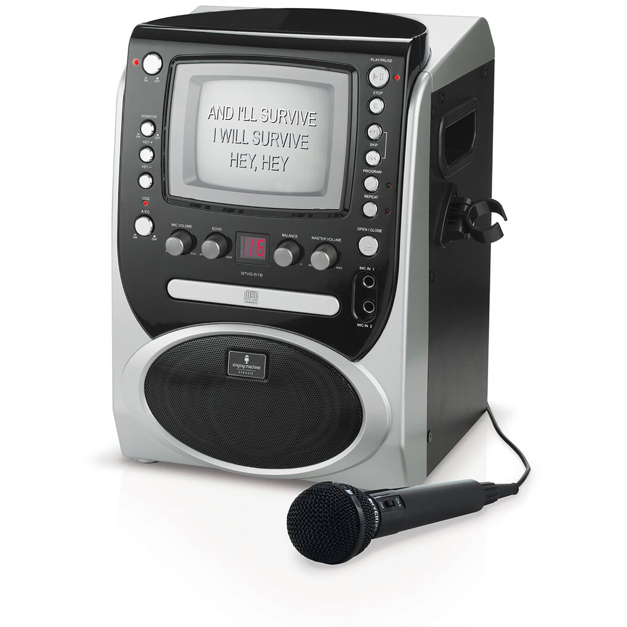 "Singing Machine STVG519 CD+G Karaoke System with  5.5"" B&W Monitor and Microphone"