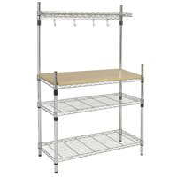 Bcp Kitchen Storage Bakers Rack Chrome Wood W Top Shelf Pan Hanger Cookware