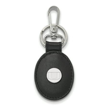 Logoart Sterling Silver University Of Miami Black Leather Oval Key Chain Ss013umf K1