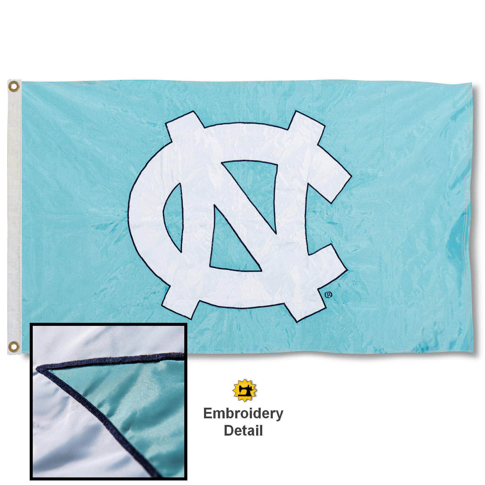UNC Tar Heels 3' x 5' Nylon Embroidered Flag